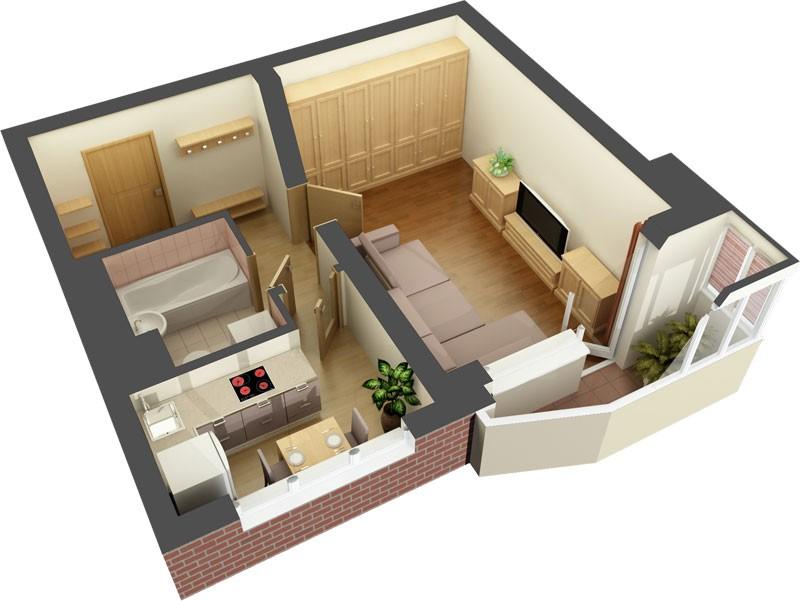 Перепланировка и дизайн двух комнатной квартиры